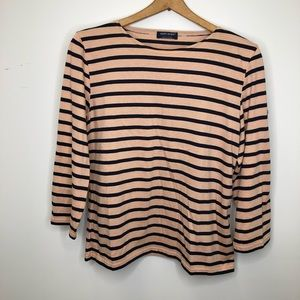 Saint James Galathee Peach & Navy Striped Top L
